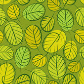 Green leaves seamless background, floral seamless pattern, hand  — Stock Vector