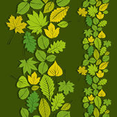 Leaves seamless wallpaper background, vector natural endless pat — Stock Vector