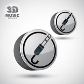 Jack audio input icon, 3d vector design element isolated, 2 vers — ストックベクタ