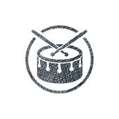 Snare drum musical vector icon with hand drawn lines texture. — 图库矢量图片