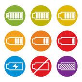 Iconos indicador de carga de la batería aislados en el fondo blanco vect — Vector de stock