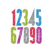 Stylish vector digits, handwritten numerals. — Stock Vector