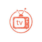 Retro tv set vector icon with hand drawn lines texture. — Stock Vector