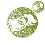 De dólares em dinheiro dinheiro pilha vetor simples única cor ícone isolado — Vetor de Stock