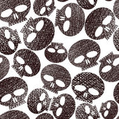 Horror and hard rock theme repeating background, Skulls seamless — Vector de stock