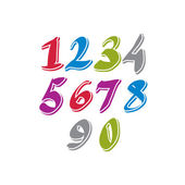 Contemporary handwritten vector digits, vector numerals. — Stockvector