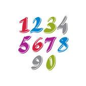 Contemporary handwritten vector digits, vector numerals. — Stock Vector
