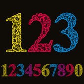 Beautiful floral numbers set, vector numerals. — Stock Vector