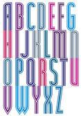 Colorful geometric decorative wicker font, drop caps. — Vettoriale Stock
