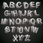 3D font, monochrome alphabet, letters looks best over dark backg — Stock Vector #51673109