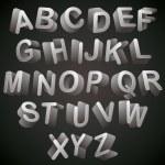 3D font, monochrome alphabet, letters looks best over dark backg — Stock Vector