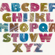 Hand drawn color bold font, sketch style alphabet, vector eps 8. — Stock Vector #51674849