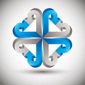 ícone de vetor 3d setas isolado no fundo branco. — Vetorial Stock
