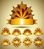 Five stars classic style blank golden banners set, vector collec — Cтоковый вектор
