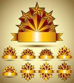 Five stars classic style blank golden banners set, vector collec — Vector de stock