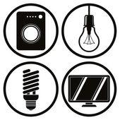 Household appliances icons set, washing machine, light bulb, ene — Stock Vector