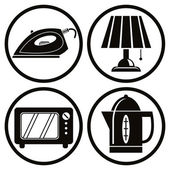 Household appliances icons set, iron, lamp, microwave, teapot. — Stock Vector
