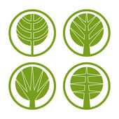 Green trees vector round icon set. — Stock Vector