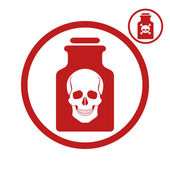 Poison bottle with scull icon, vector illustration. — Stock Vector