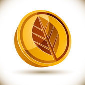 Autumn leaf 3d round vector icon. — Stock Vector