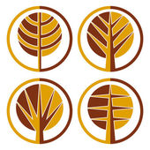 Autumn trees vector round icon set. — Stock Vector