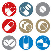 Pills and capsules round icon set, single color vectors collecti — Stock Vector