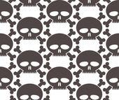 Skulls regular seamless pattern, single color vector background. — Stock Vector