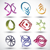 Abstract contemporary style icons, vector designs set, 3d round  — Stock Vector