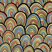 Funky retro style seamless pattern, colorful vector background. — ストックベクタ