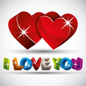 I love you phrase made with 3d colorful letters and two red hear — 图库矢量图片