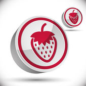 Strawberry 3d vector icon. — Stock Vector