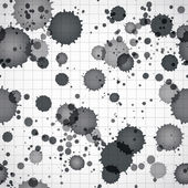Black ink splats on a copybook page seamless background. — Stock Vector