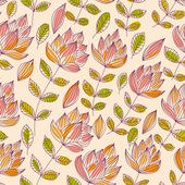 Beautiful flowers seamless pattern, vintage style vector backgro — Stock Vector
