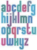 Retro stripe geometric font. — Stock Vector
