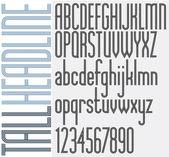 Triple Stripes Tall Headline retro style light condensed font. — Stock Vector