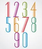 Elegant Tall Striped retro style numbers set. — Stock Vector