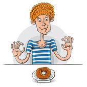 Teen boy with donut, vector illustration. — Stock Vector