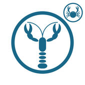 Crayfish and crab icons. — Stock Vector
