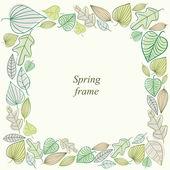 Spring frame made of leaves. — 图库矢量图片