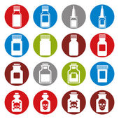 Medical bottles icon set. — Stock Vector