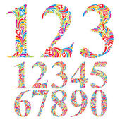 Floral colorful numbers set. — Stock Vector