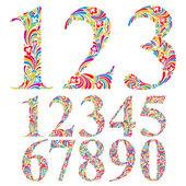 Floral colorful numbers set. — Vecteur