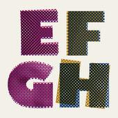 Halftone dots font, dirty grunge color pixels print texture lett — Stock Vector