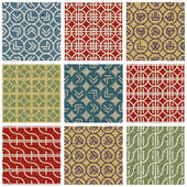Retro style tiles seamless patterns set. — Stock Vector