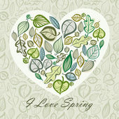 Spring card design with heart made of leaves. — Stock Vector