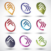 Abstract arrows icons set. — Stock Vector