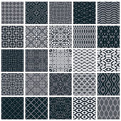 Vintage tiles seamless patterns, 25 monochrome designs vector se — Vecteur