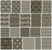 Vintage tiles seamless patterns, 20 monochrome designs vector se — Stock Vector