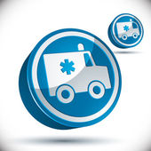 Ambulance emergency 3d car icon. — Stock Vector