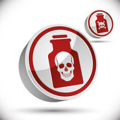 Poison bottle with skull 3d icon. — Stock Vector